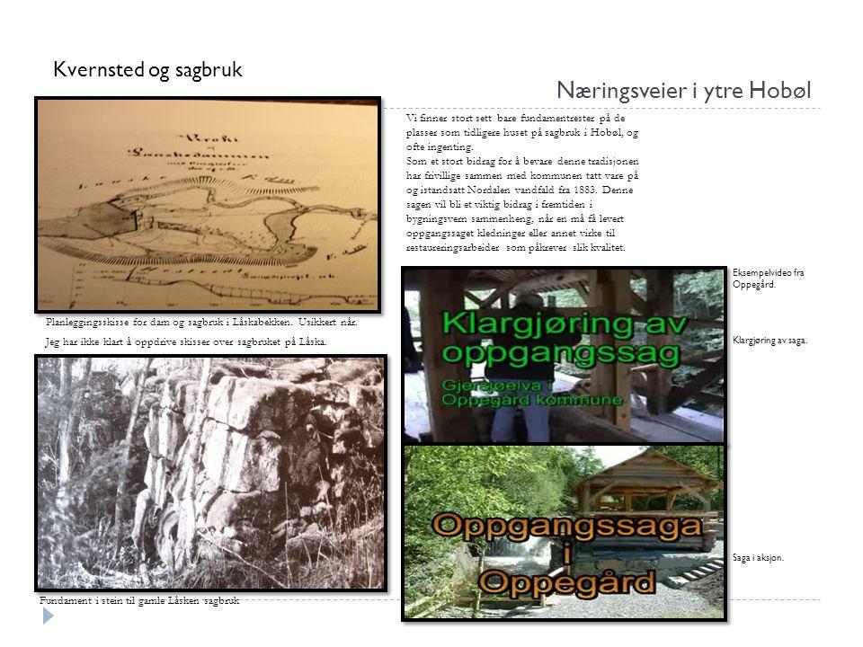 Næringsveier i ytre Hobøl Kvernsted og sagbruk Fundament i stein til gamle Låsken sagbruk Vi finner stort sett bare fundamentrester på de plasser som