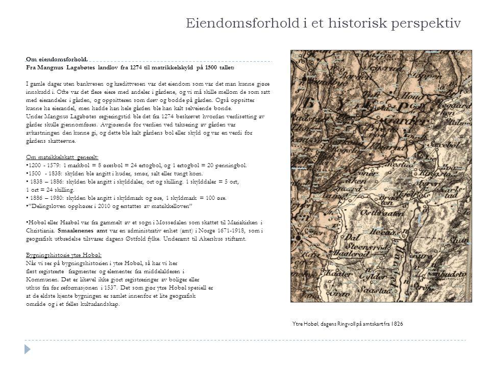 Eiendomsforhold i et historisk perspektiv Om eiendomsforhold. Fra Mangnus Lagabøtes landlov fra 1274 til matrikkelskyld på 1500 tallet: I gamle dager