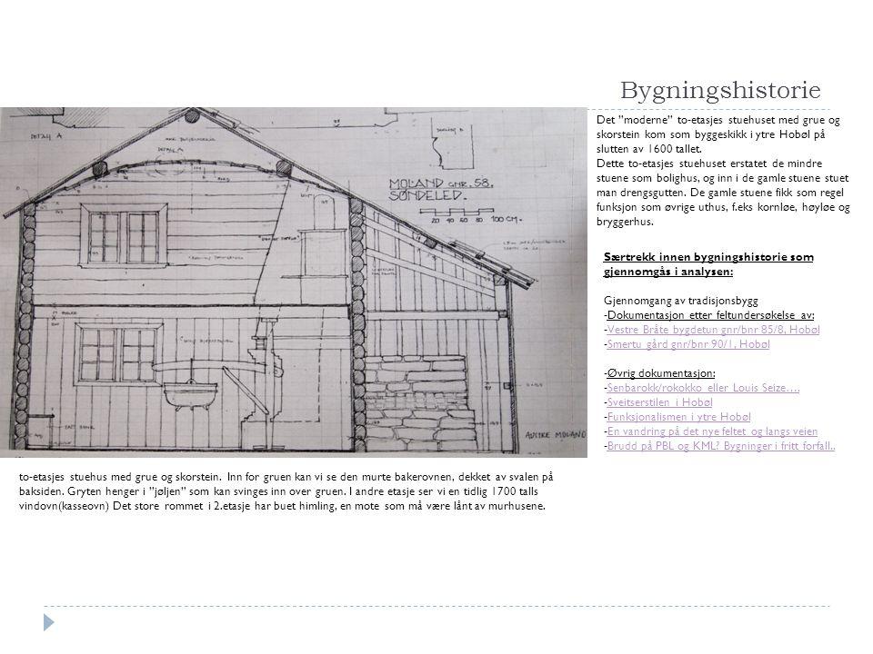 """Bygningshistorie Det """"moderne"""" to-etasjes stuehuset med grue og skorstein kom som byggeskikk i ytre Hobøl på slutten av 1600 tallet. Dette to-etasjes"""