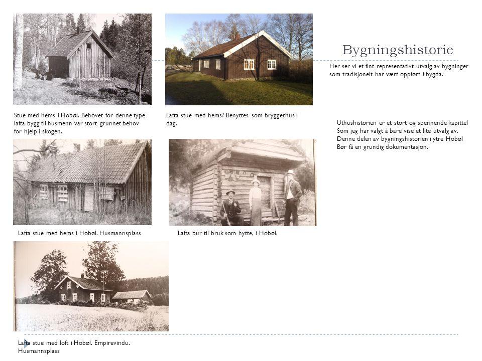 Bygningshistorie Stue med hems i Hobøl. Behovet for denne type lafta bygg til husmenn var stort grunnet behov for hjelp i skogen. Lafta stue med hems