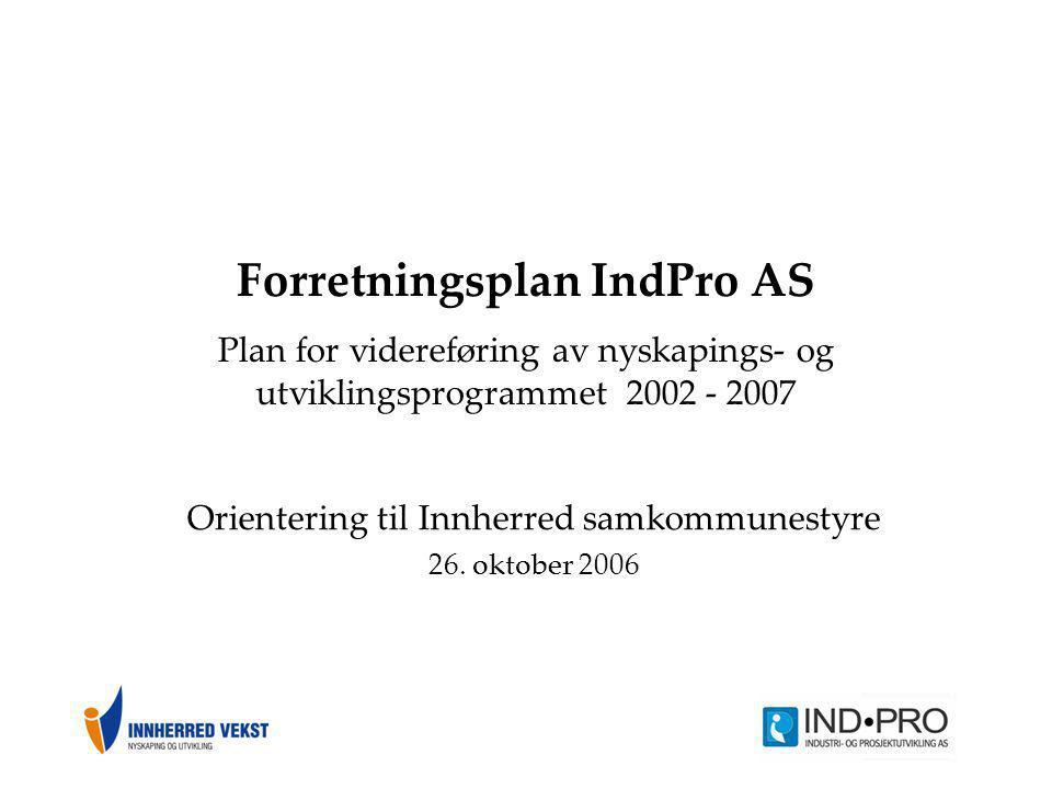Forretningsplan IndPro AS Plan for videreføring av nyskapings- og utviklingsprogrammet 2002 - 2007 Orientering til Innherred samkommunestyre 26. oktob
