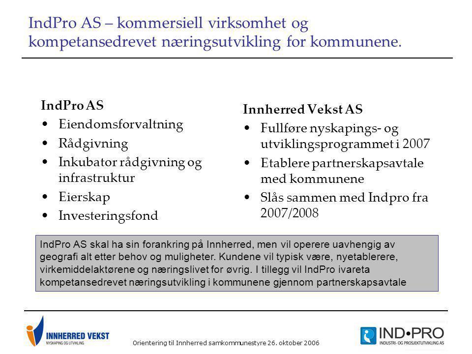 Orientering til Innherred samkommunestyre 26. oktober 2006 IndPro AS – kommersiell virksomhet og kompetansedrevet næringsutvikling for kommunene. IndP