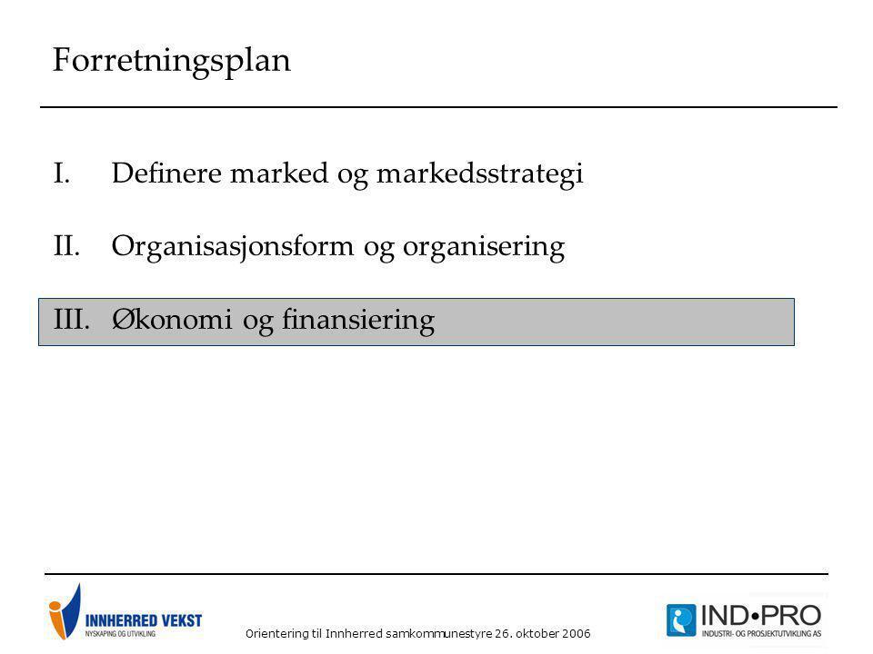 Orientering til Innherred samkommunestyre 26. oktober 2006 Forretningsplan I.Definere marked og markedsstrategi II.Organisasjonsform og organisering I