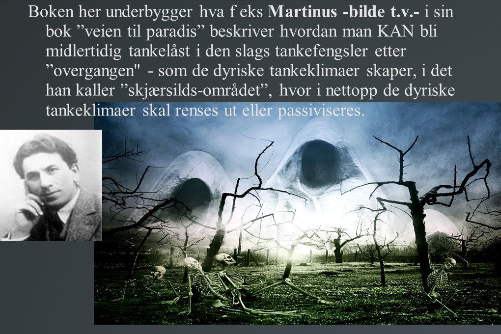"""Boken her underbygger hva f eks Martinus -bilde t.v.- i sin bok """"veien til paradis"""" beskriver hvordan man KAN bli midlertidig tankelåst i den slags ta"""