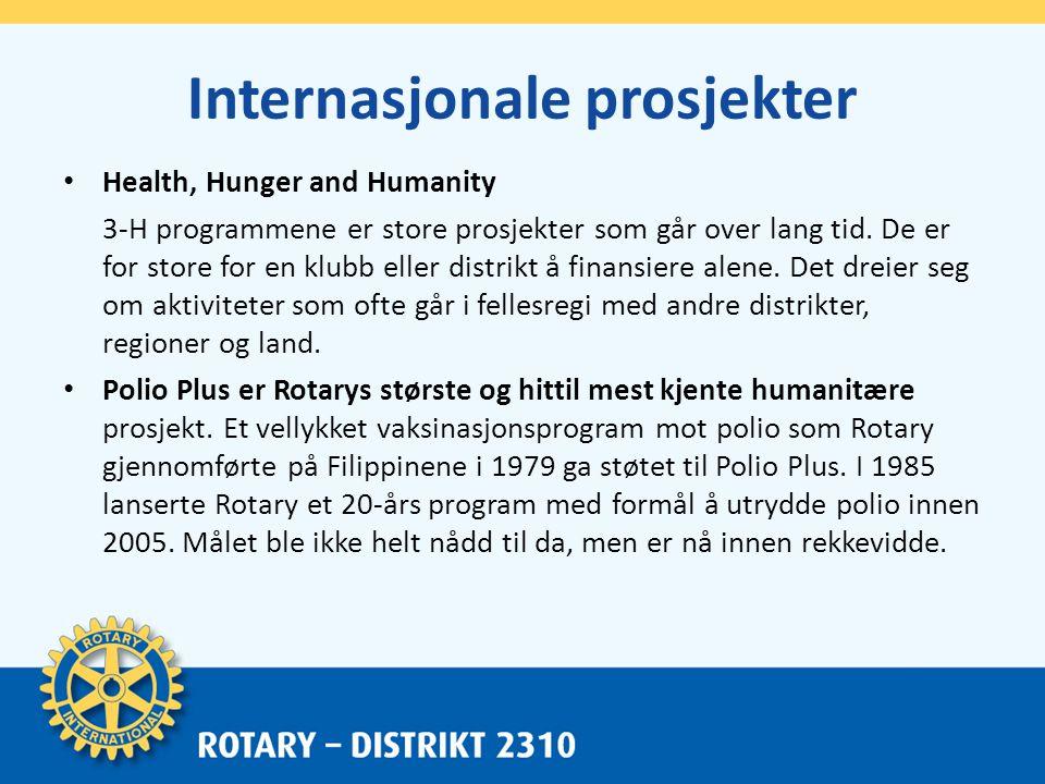 Internasjonale prosjekter • Health, Hunger and Humanity 3-H programmene er store prosjekter som går over lang tid.
