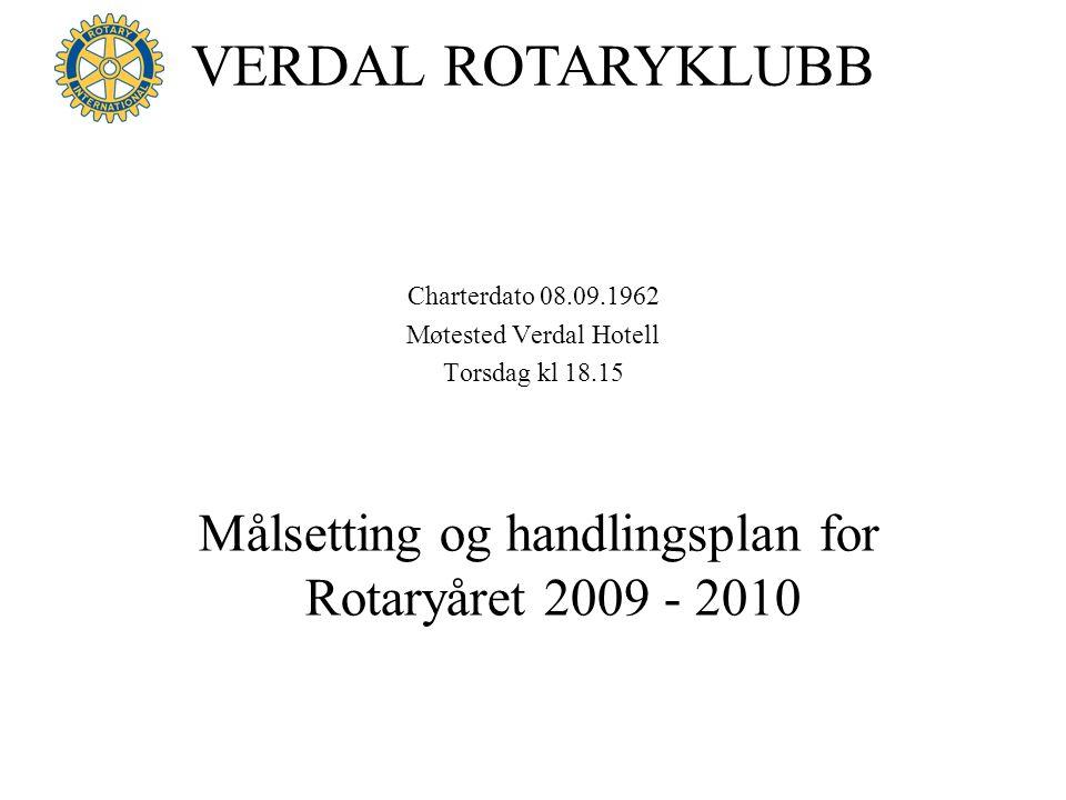 VERDAL ROTARYKLUBB Charterdato 08.09.1962 Møtested Verdal Hotell Torsdag kl 18.15 Målsetting og handlingsplan for Rotaryåret 2009 - 2010