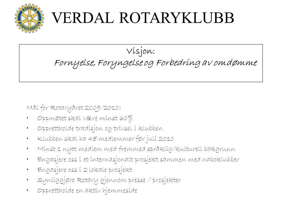 VERDAL ROTARYKLUBB Mål for Rotaryåret 2009/2010: •Oppmøtet skal være minst 60% •Opprettholde tradisjon og trivsel i klubben •Klubben skal ha 45 medlem