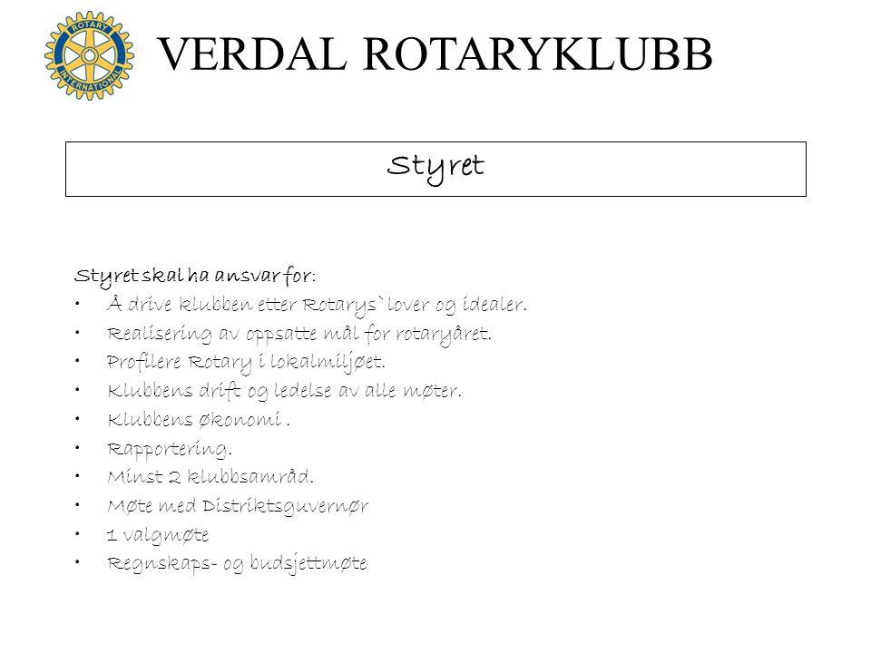 VERDAL ROTARYKLUBB Styret Styret skal ha ansvar for: •Å drive klubben etter Rotarys`lover og idealer. •Realisering av oppsatte mål for rotaryåret. •Pr