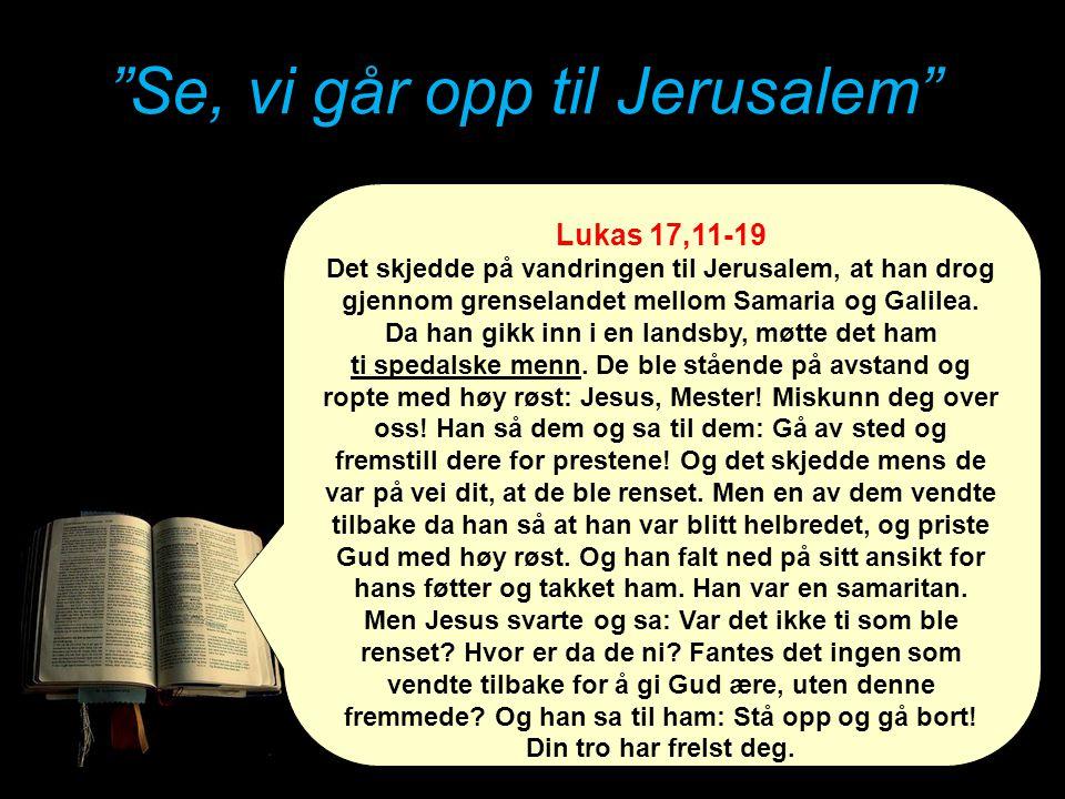 """""""Se, vi går opp til Jerusalem"""" Lukas 17,11-19 Det skjedde på vandringen til Jerusalem, at han drog gjennom grenselandet mellom Samaria og Galilea. Da"""