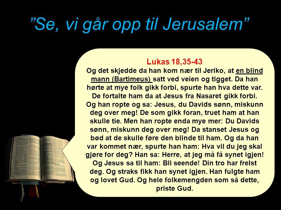 """""""Se, vi går opp til Jerusalem"""" Lukas 18,35-43 Og det skjedde da han kom nær til Jeriko, at en blind mann (Bartimeus) satt ved veien og tigget. Da han"""