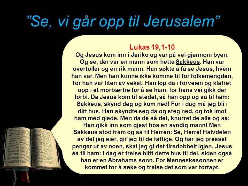 """""""Se, vi går opp til Jerusalem"""" Lukas 19,1-10 Og Jesus kom inn i Jeriko og var på vei gjennom byen. Og se, der var en mann som hette Sakkeus. Han var o"""