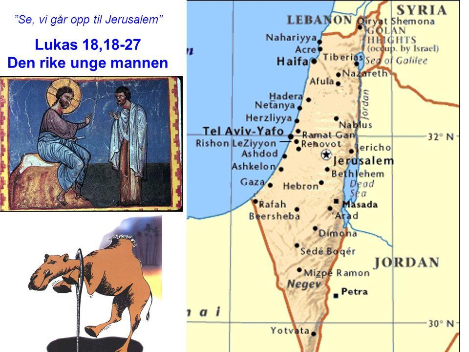 """""""Se, vi går opp til Jerusalem"""" Lukas 18,18-27 Den rike unge mannen"""