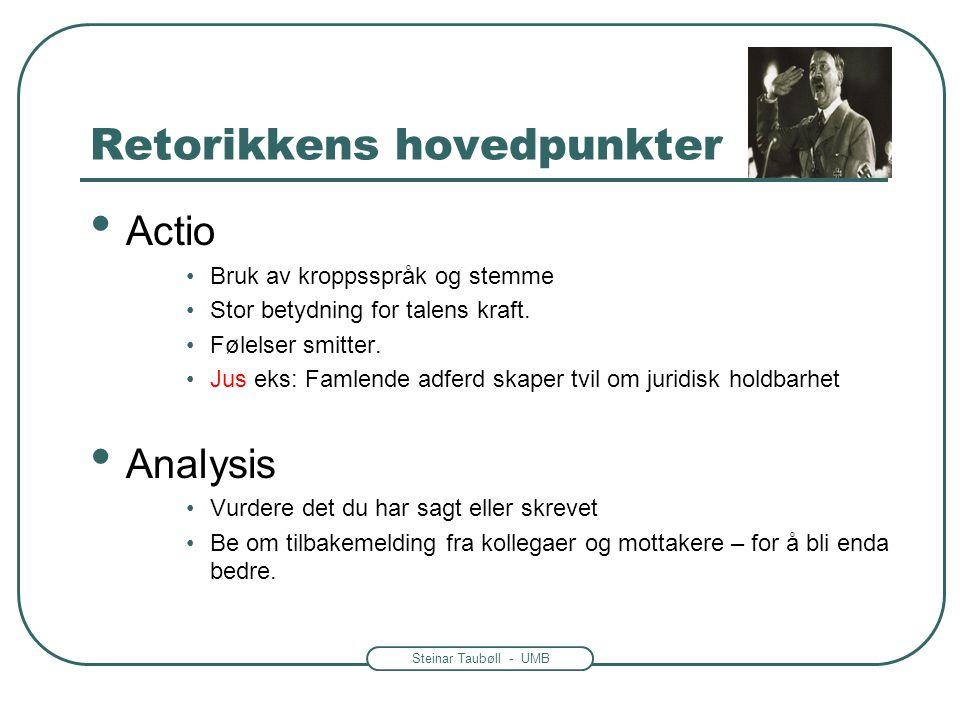 Steinar Taubøll - UMB Retorikkens hovedpunkter • Actio •Bruk av kroppsspråk og stemme •Stor betydning for talens kraft. •Følelser smitter. •Jus eks: F