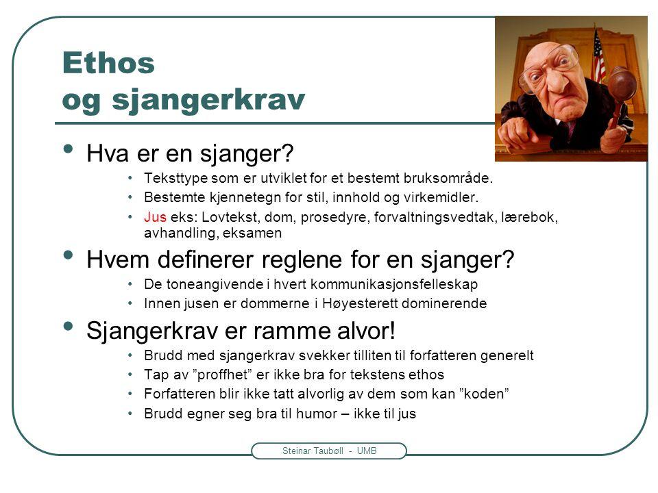 Steinar Taubøll - UMB Ethos og sjangerkrav • Hva er en sjanger? •Teksttype som er utviklet for et bestemt bruksområde. •Bestemte kjennetegn for stil,