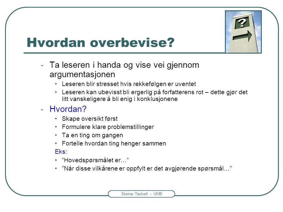 Steinar Taubøll - UMB Hvordan overbevise? -Ta leseren i handa og vise vei gjennom argumentasjonen •Leseren blir stresset hvis rekkefølgen er uventet •