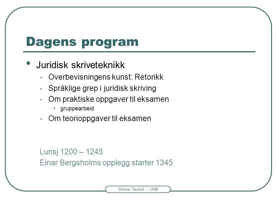 Steinar Taubøll - UMB Dagens program • Juridisk skriveteknikk -Overbevisningens kunst: Retorikk -Språklige grep i juridisk skriving -Om praktiske oppg