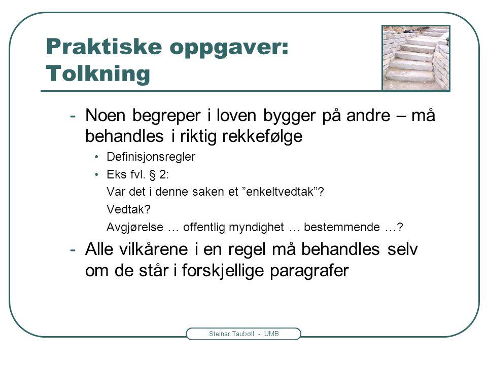Steinar Taubøll - UMB Praktiske oppgaver: Tolkning -Noen begreper i loven bygger på andre – må behandles i riktig rekkefølge •Definisjonsregler •Eks f