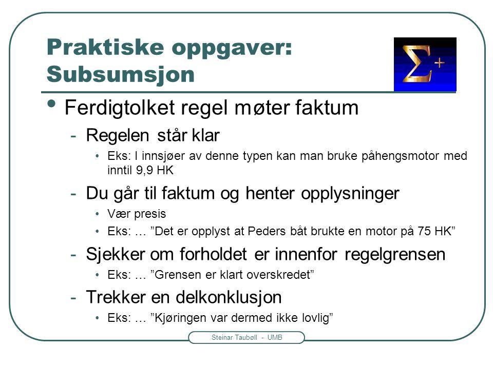 Steinar Taubøll - UMB Praktiske oppgaver: Subsumsjon • Ferdigtolket regel møter faktum -Regelen står klar •Eks: I innsjøer av denne typen kan man bruk