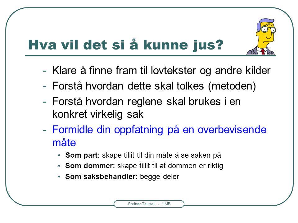Steinar Taubøll - UMB Praktiske oppgaver: Tolkning • Start med å presentere den regelen som gir svaret på hovedspørsmålet •Eks: Utgangspunktet for drøftelsen er fvl.