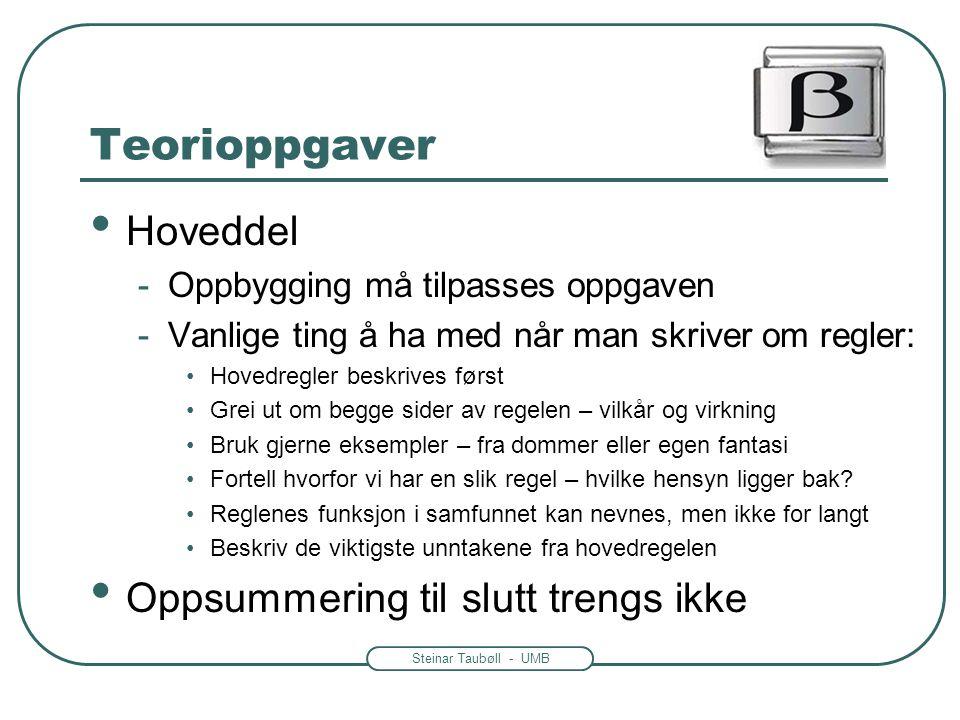 Steinar Taubøll - UMB Teorioppgaver • Hoveddel -Oppbygging må tilpasses oppgaven -Vanlige ting å ha med når man skriver om regler: •Hovedregler beskri