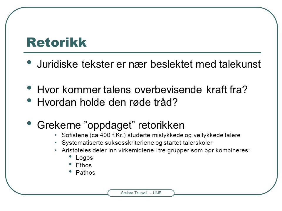 Steinar Taubøll - UMB Retorikk • Juridiske tekster er nær beslektet med talekunst • Hvor kommer talens overbevisende kraft fra? • Hvordan holde den rø