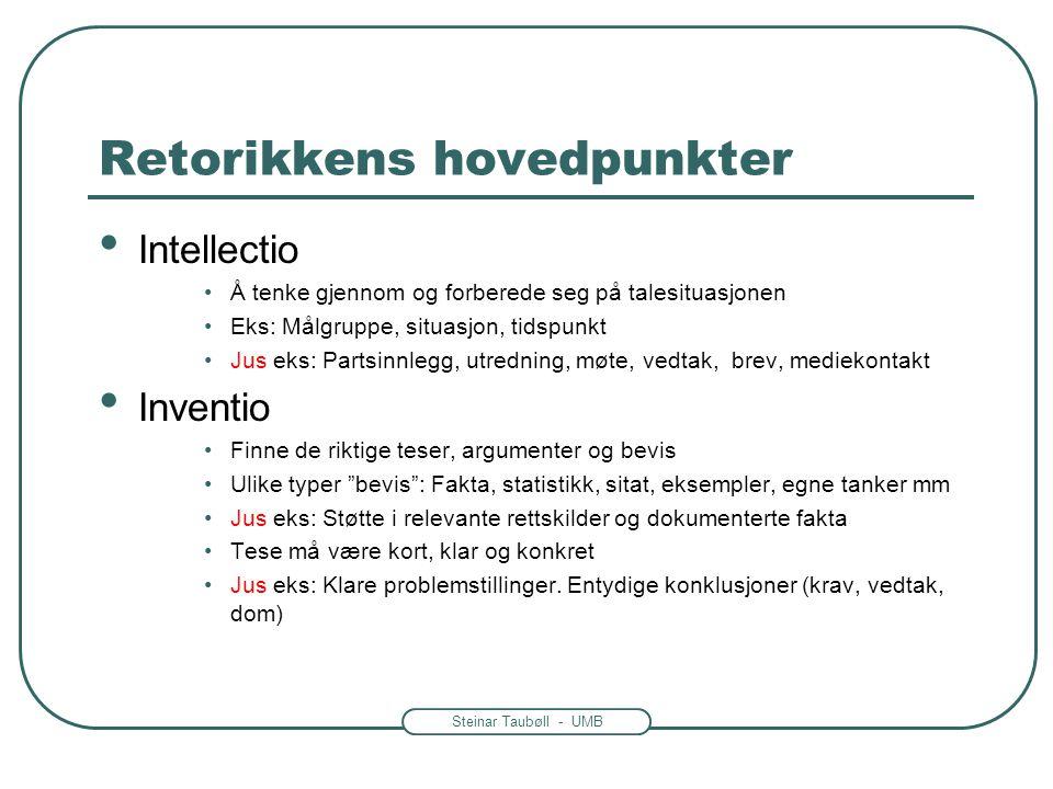Steinar Taubøll - UMB Retorikkens hovedpunkter • Intellectio •Å tenke gjennom og forberede seg på talesituasjonen •Eks: Målgruppe, situasjon, tidspunk