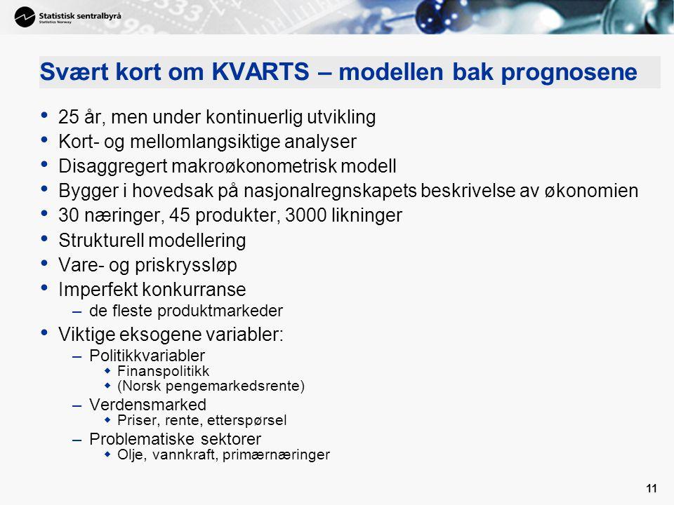 11 Svært kort om KVARTS – modellen bak prognosene • 25 år, men under kontinuerlig utvikling • Kort- og mellomlangsiktige analyser • Disaggregert makro