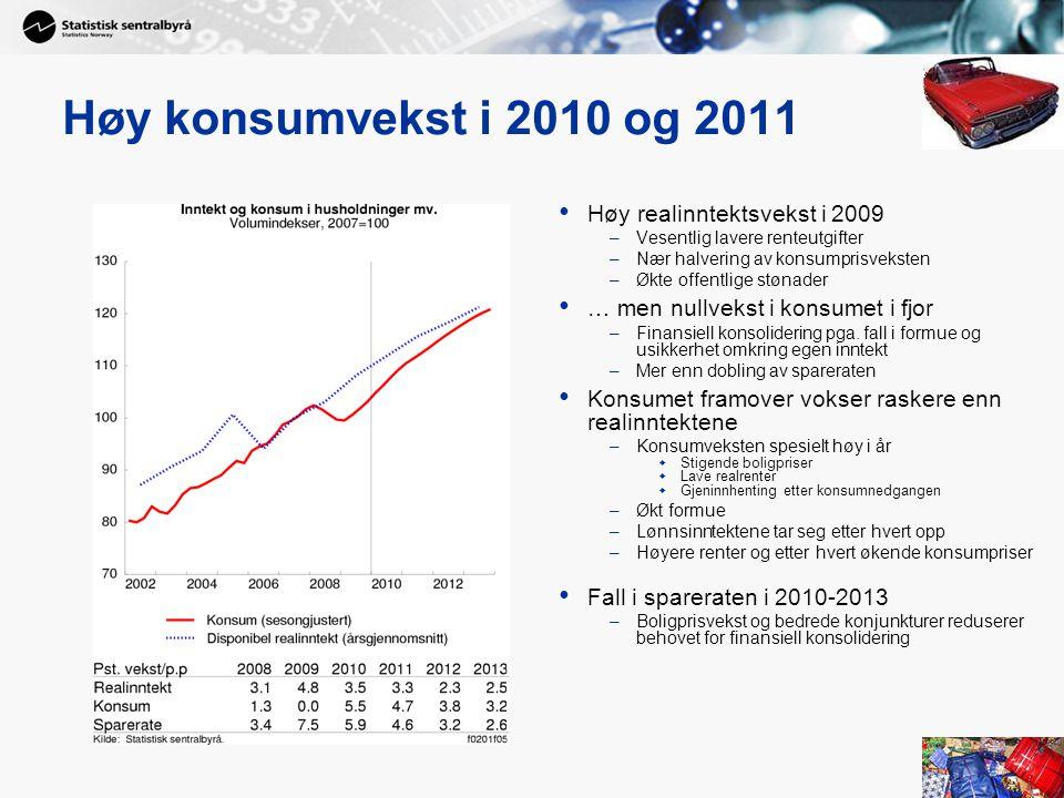 18 Høy konsumvekst i 2010 og 2011 • Høy realinntektsvekst i 2009 –Vesentlig lavere renteutgifter –Nær halvering av konsumprisveksten –Økte offentlige