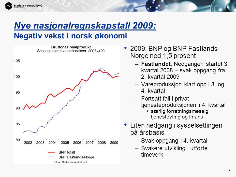 18 Høy konsumvekst i 2010 og 2011 • Høy realinntektsvekst i 2009 –Vesentlig lavere renteutgifter –Nær halvering av konsumprisveksten –Økte offentlige stønader • … men nullvekst i konsumet i fjor –Finansiell konsolidering pga.