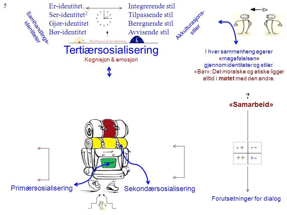Tertiærsosialisering Kognisjon & emosjon I hver sammenheng agerer «magefølelsen» gjennom identiteter og stiler. «Bør»: Det moralske og etiske ligger a