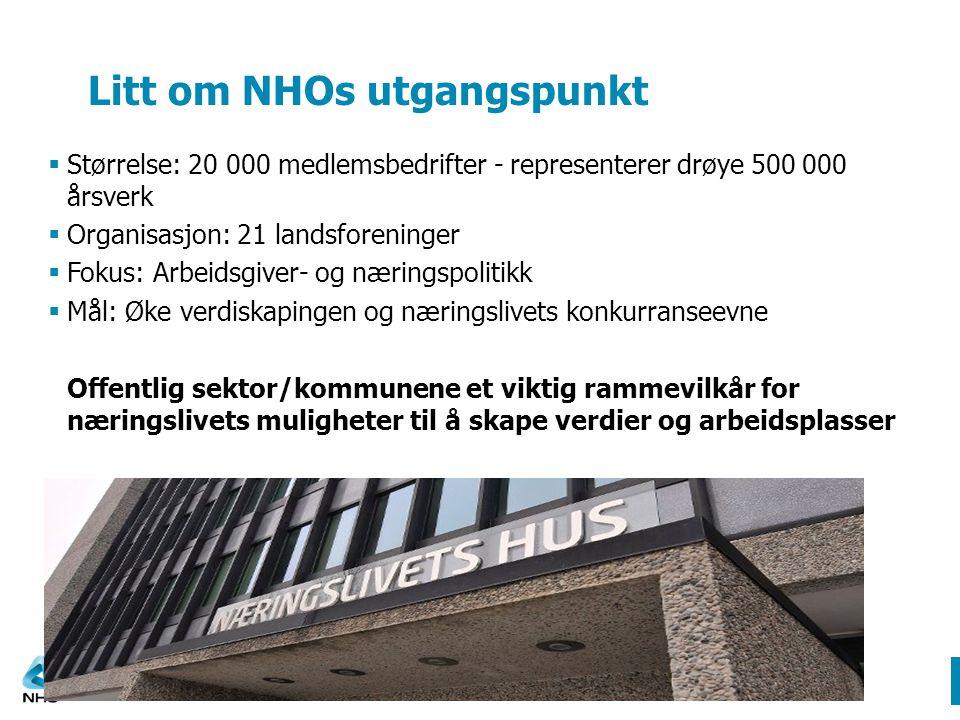 Litt om NHOs utgangspunkt  Størrelse: 20 000 medlemsbedrifter - representerer drøye 500 000 årsverk  Organisasjon: 21 landsforeninger  Fokus: Arbei