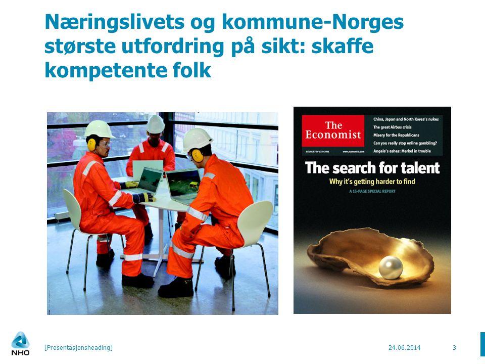 Næringslivets og kommune-Norges største utfordring på sikt: skaffe kompetente folk 24.06.2014[Presentasjonsheading]3