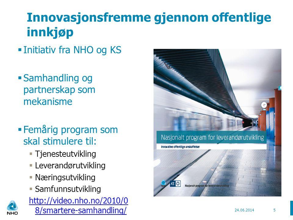 Innovasjonsfremme gjennom offentlige innkjøp  Initiativ fra NHO og KS  Samhandling og partnerskap som mekanisme  Femårig program som skal stimulere