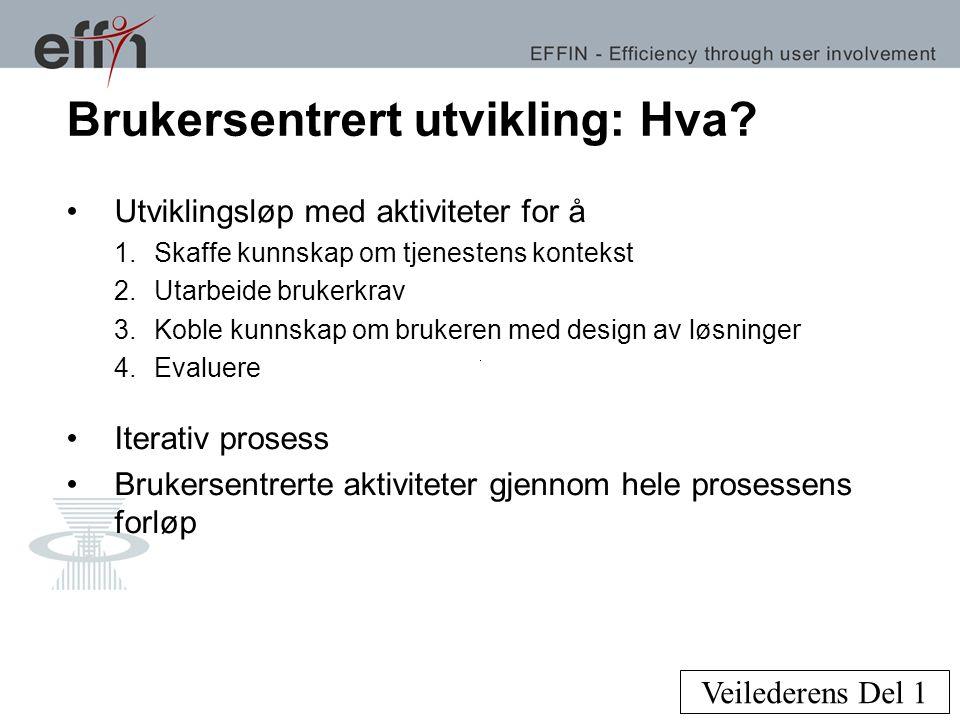 Brukersentrert utvikling: Hvordan.•Fagfeltet HCI med stor verktøykasse.