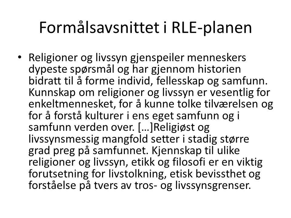 Formålsavsnittet i RLE-planen • Religioner og livssyn gjenspeiler menneskers dypeste spørsmål og har gjennom historien bidratt til å forme individ, fe