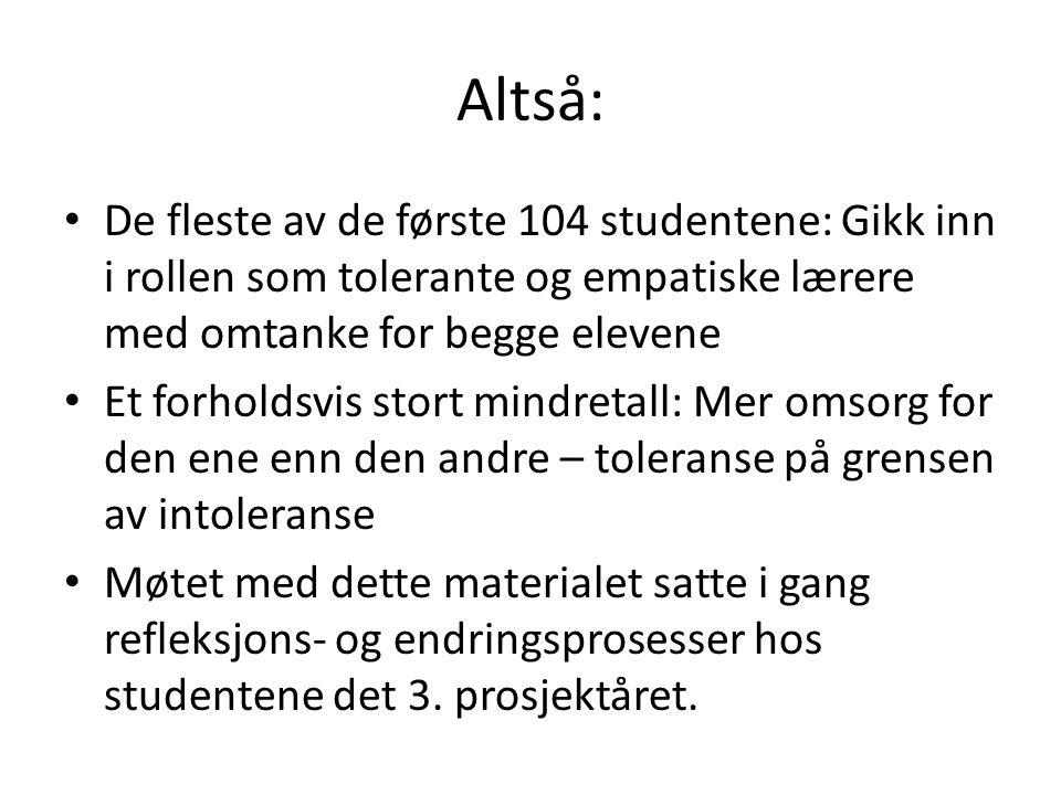 Altså: • De fleste av de første 104 studentene: Gikk inn i rollen som tolerante og empatiske lærere med omtanke for begge elevene • Et forholdsvis sto
