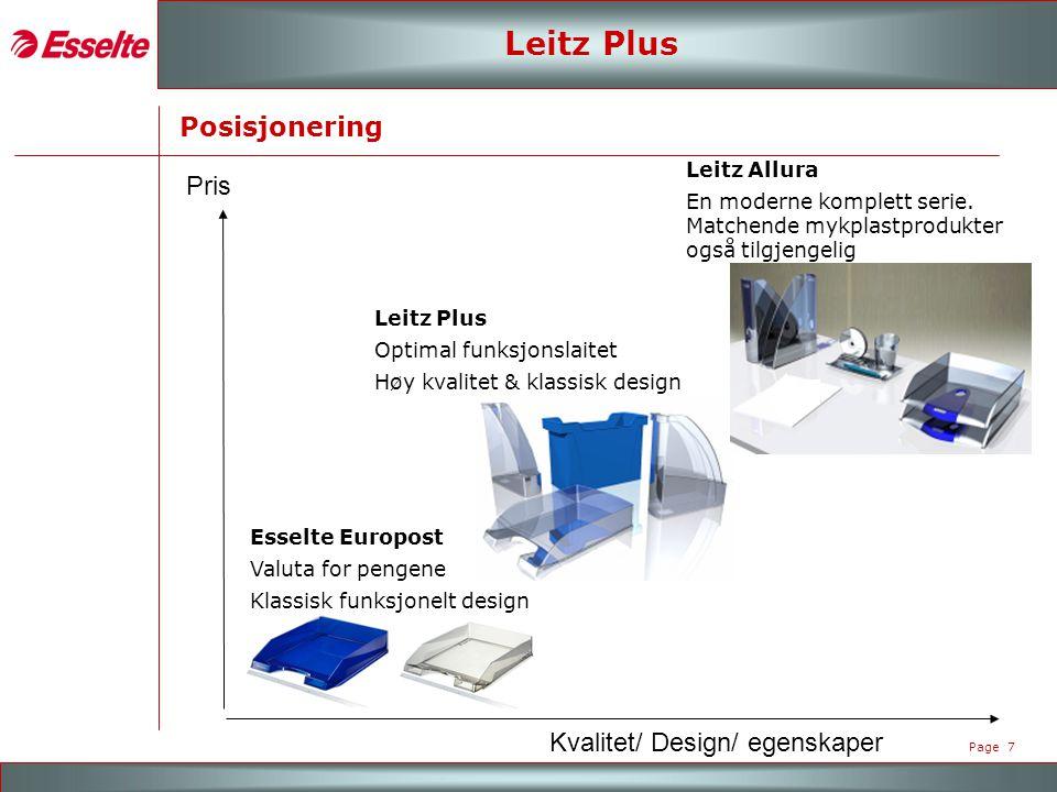 M A R K E N - R O A D S H O W 2007 Page 7 Leitz Plus Posisjonering Pris Kvalitet/ Design/ egenskaper Leitz Allura En moderne komplett serie.