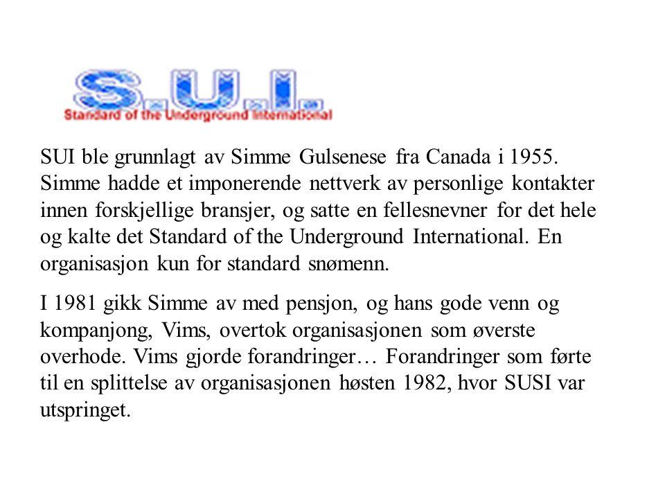 SUI SUI ble grunnlagt av Simme Gulsenese fra Canada i 1955. Simme hadde et imponerende nettverk av personlige kontakter innen forskjellige bransjer, o