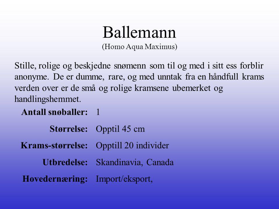 Ballemann (Homo Aqua Maximus) Stille, rolige og beskjedne snømenn som til og med i sitt ess forblir anonyme. De er dumme, rare, og med unntak fra en h