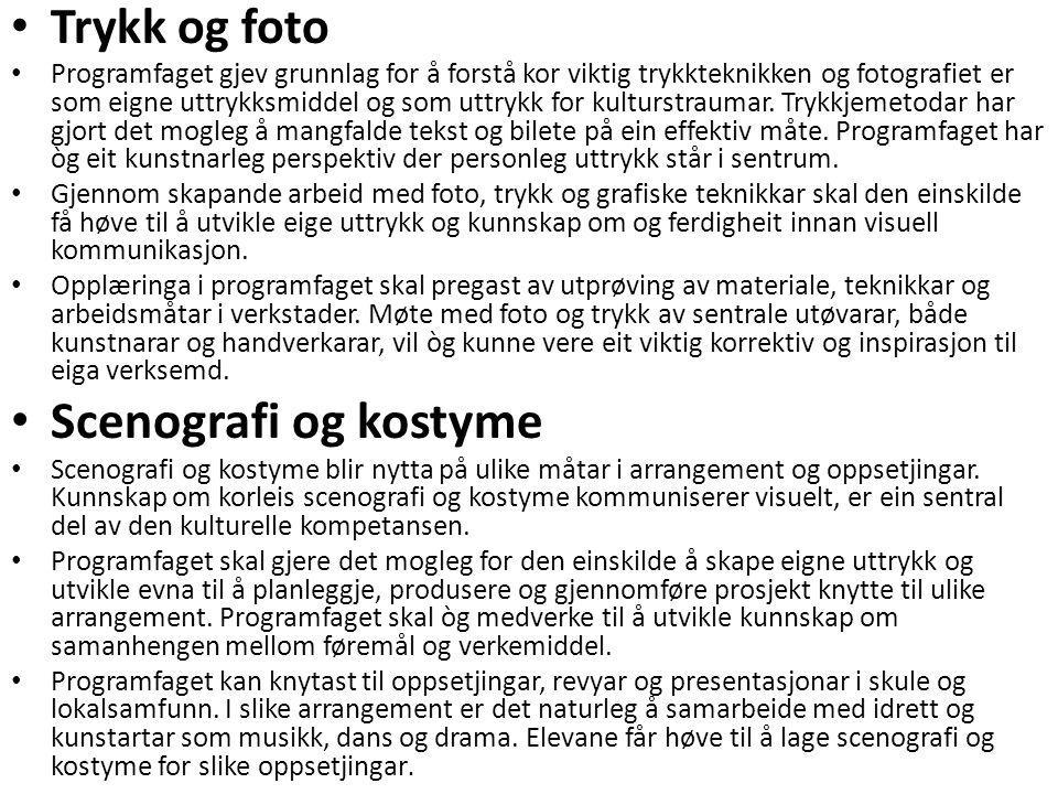 • Trykk og foto • Programfaget gjev grunnlag for å forstå kor viktig trykkteknikken og fotografiet er som eigne uttrykksmiddel og som uttrykk for kult