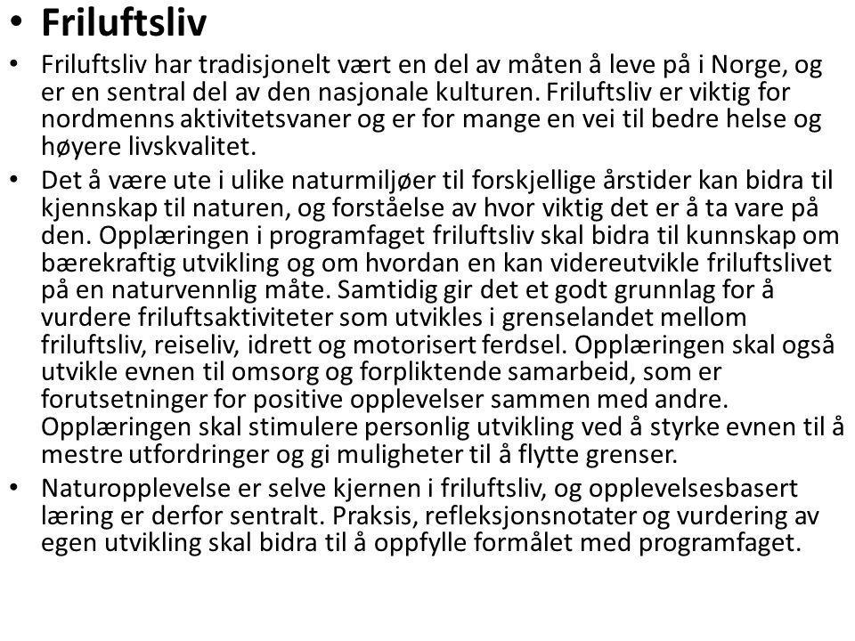 • Friluftsliv • Friluftsliv har tradisjonelt vært en del av måten å leve på i Norge, og er en sentral del av den nasjonale kulturen. Friluftsliv er vi