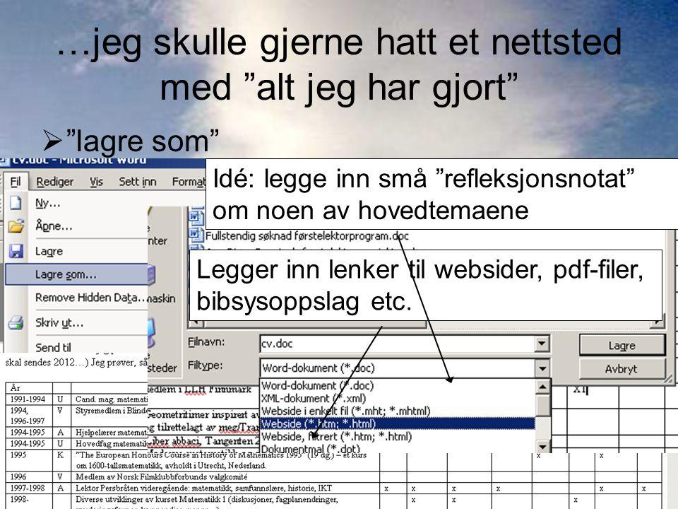 """…jeg skulle gjerne hatt et nettsted med """"alt jeg har gjort""""  """"lagre som""""  filtype """"webside"""" Legger inn lenker til websider, pdf-filer, bibsysoppslag"""