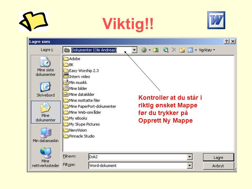 Viktig!! Kontroller at du står i riktig ønsket Mappe før du trykker på Opprett Ny Mappe