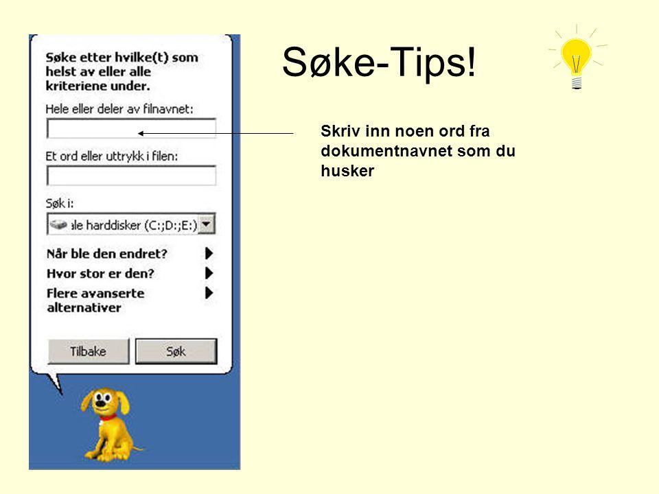 Søke-Tips! Skriv inn noen ord fra dokumentnavnet som du husker