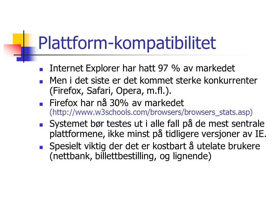 Plattform-kompatibilitet  Internet Explorer har hatt 97 % av markedet  Men i det siste er det kommet sterke konkurrenter (Firefox, Safari, Opera, m.fl.).