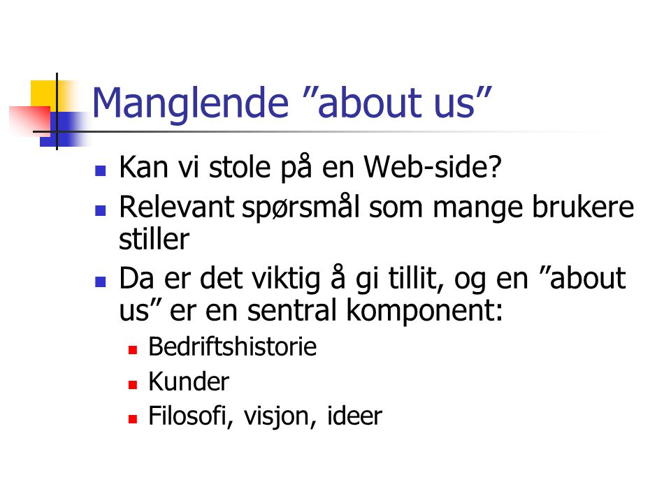 Manglende about us  Kan vi stole på en Web-side.
