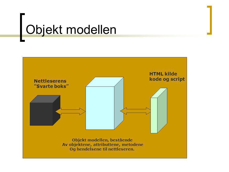 """Objekt modellen Nettleserens """"Svarte boks"""" Objekt modellen, bestående Av objektene, attributtene, metodene Og hendelsene til nettleseren. HTML kilde k"""