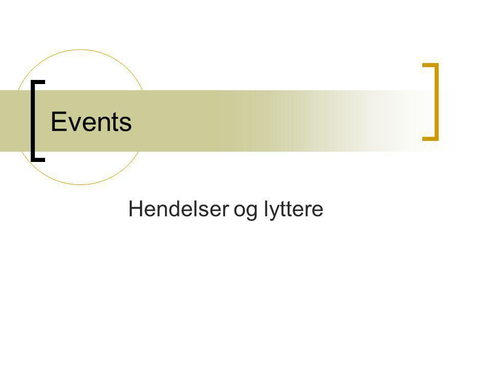 Events Hendelser og lyttere