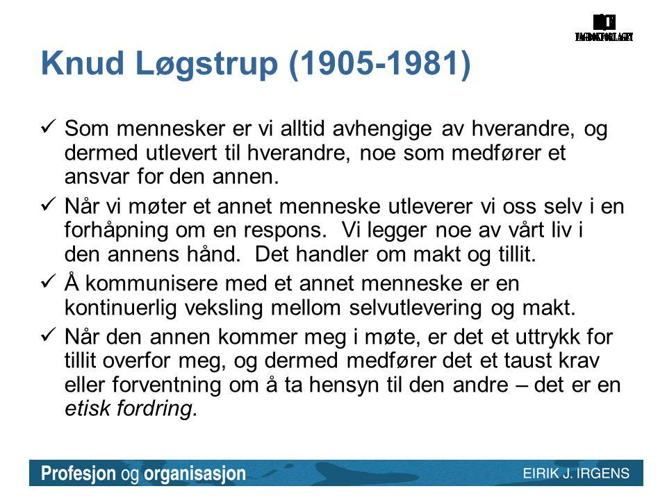 Knud Løgstrup (1905-1981)  Som mennesker er vi alltid avhengige av hverandre, og dermed utlevert til hverandre, noe som medfører et ansvar for den an