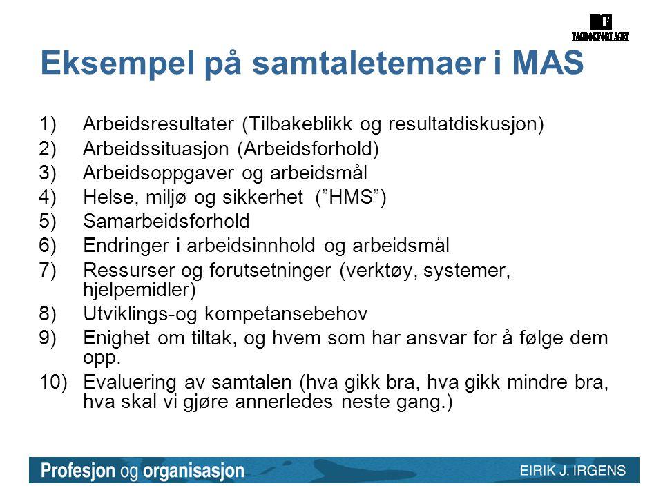 Eksempel på samtaletemaer i MAS 1)Arbeidsresultater (Tilbakeblikk og resultatdiskusjon) 2)Arbeidssituasjon (Arbeidsforhold) 3)Arbeidsoppgaver og arbei